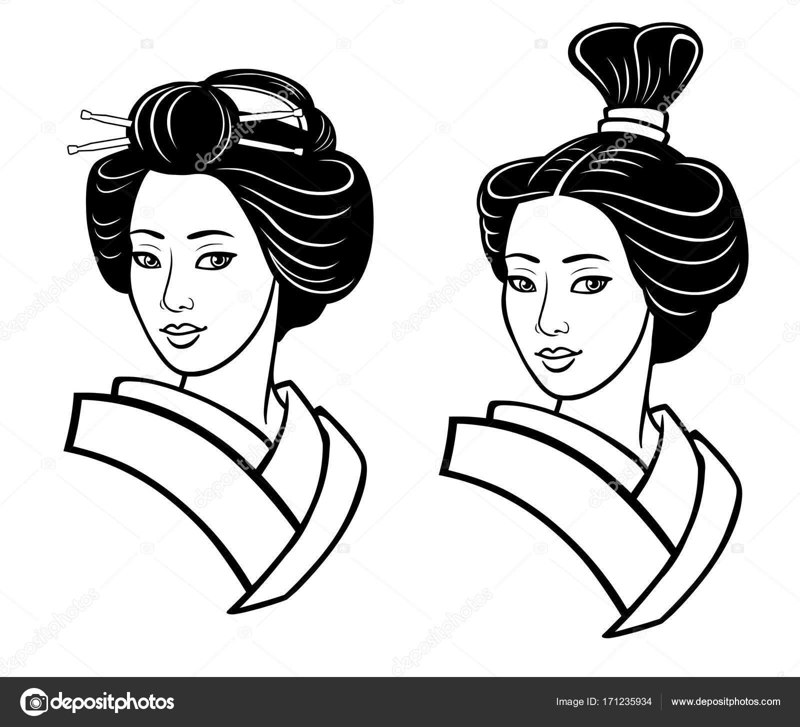 Deux Portraits De La Jeune Fille Japonaise Une Ancienne Coiffure