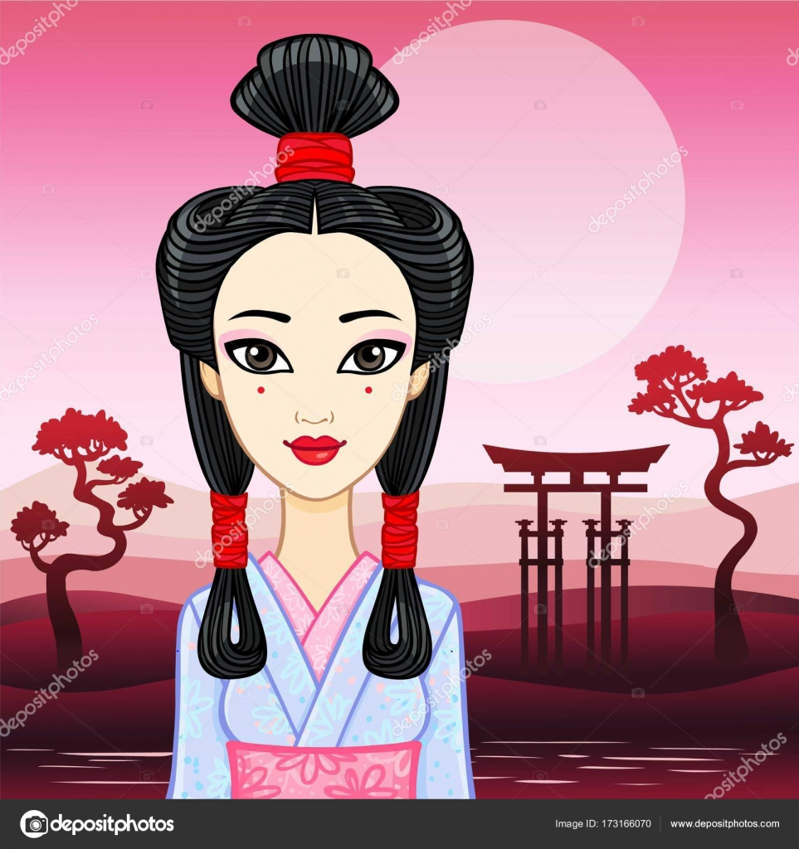 Portrait D Animation De La Jeune Fille Japonaise Une Ancienne