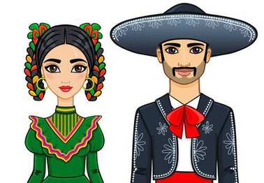 Animation portrait of the Mexican family in ancient clothes. The vector illustration isolated on a white background.