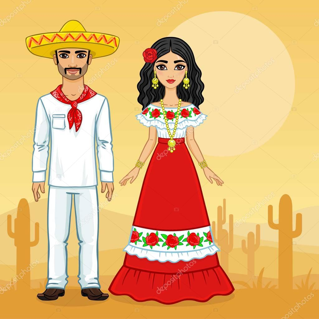 Animation portrait of the Mexican family in ancient clothes. Full growth. A background - a landscape the desert a cactus. Vector illustration.