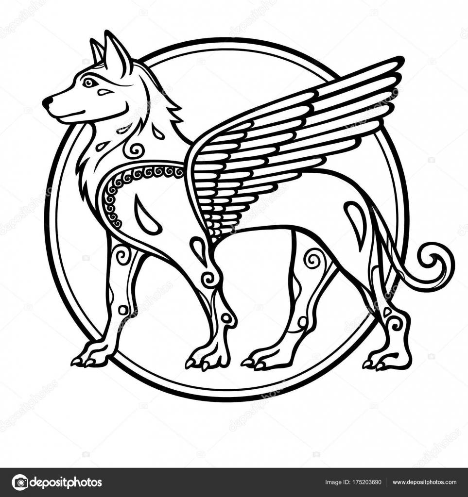 Fantastic image winged dog mythological character zodiac symbol fantastic image winged dog mythological character zodiac symbol new year stock vector buycottarizona Images