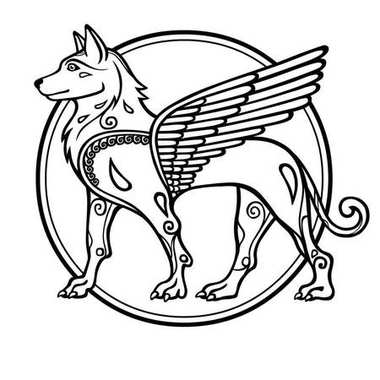 Fantastic image of a winged dog, mythological character, zodiac symbol of new year. Black and white drawing based on motives of Sumerian art, isolated on a white background. Vector illustration.