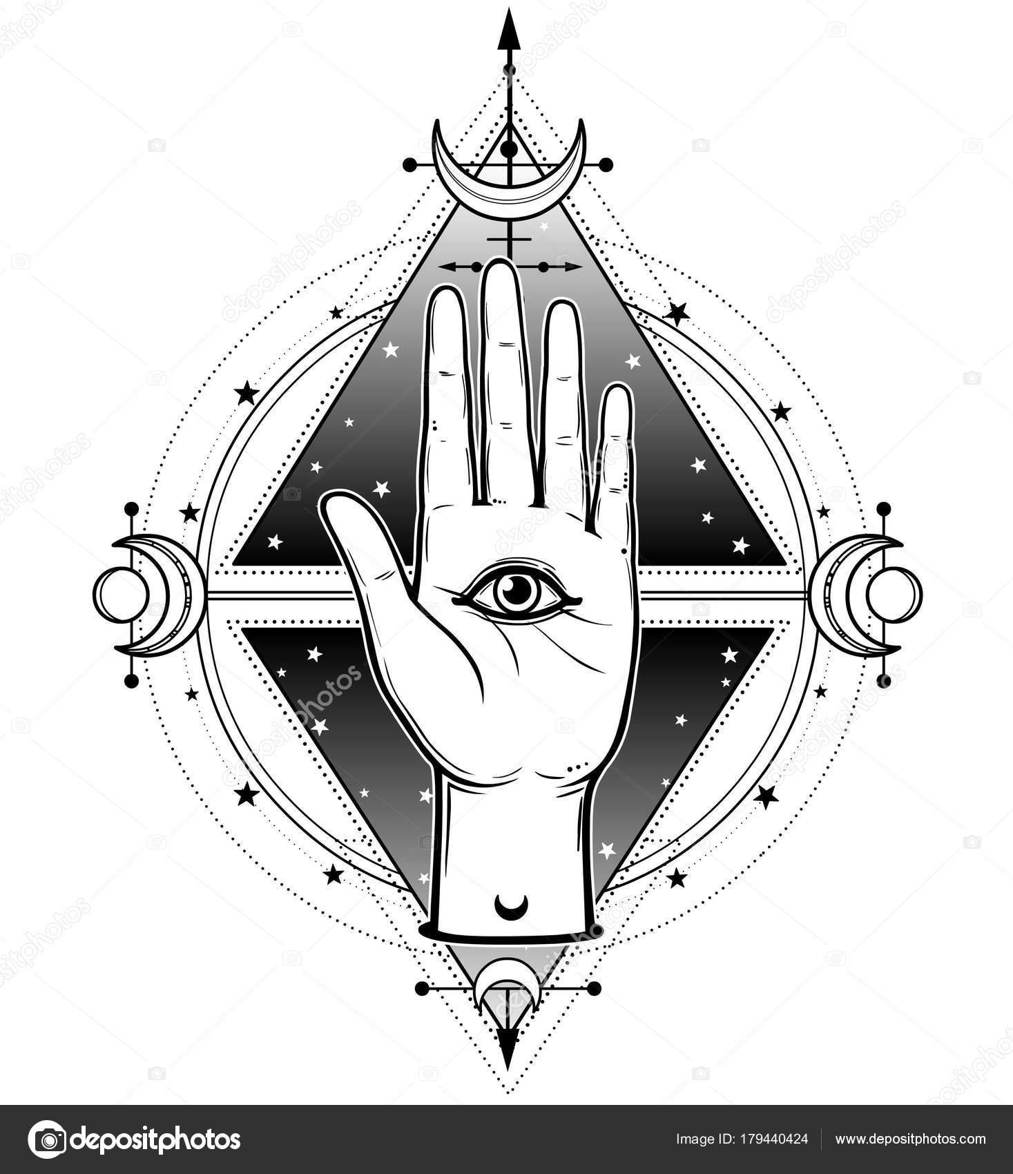 Mystical Symbol Human Hand Has Divine All Seeing Eye Alchemy Stock