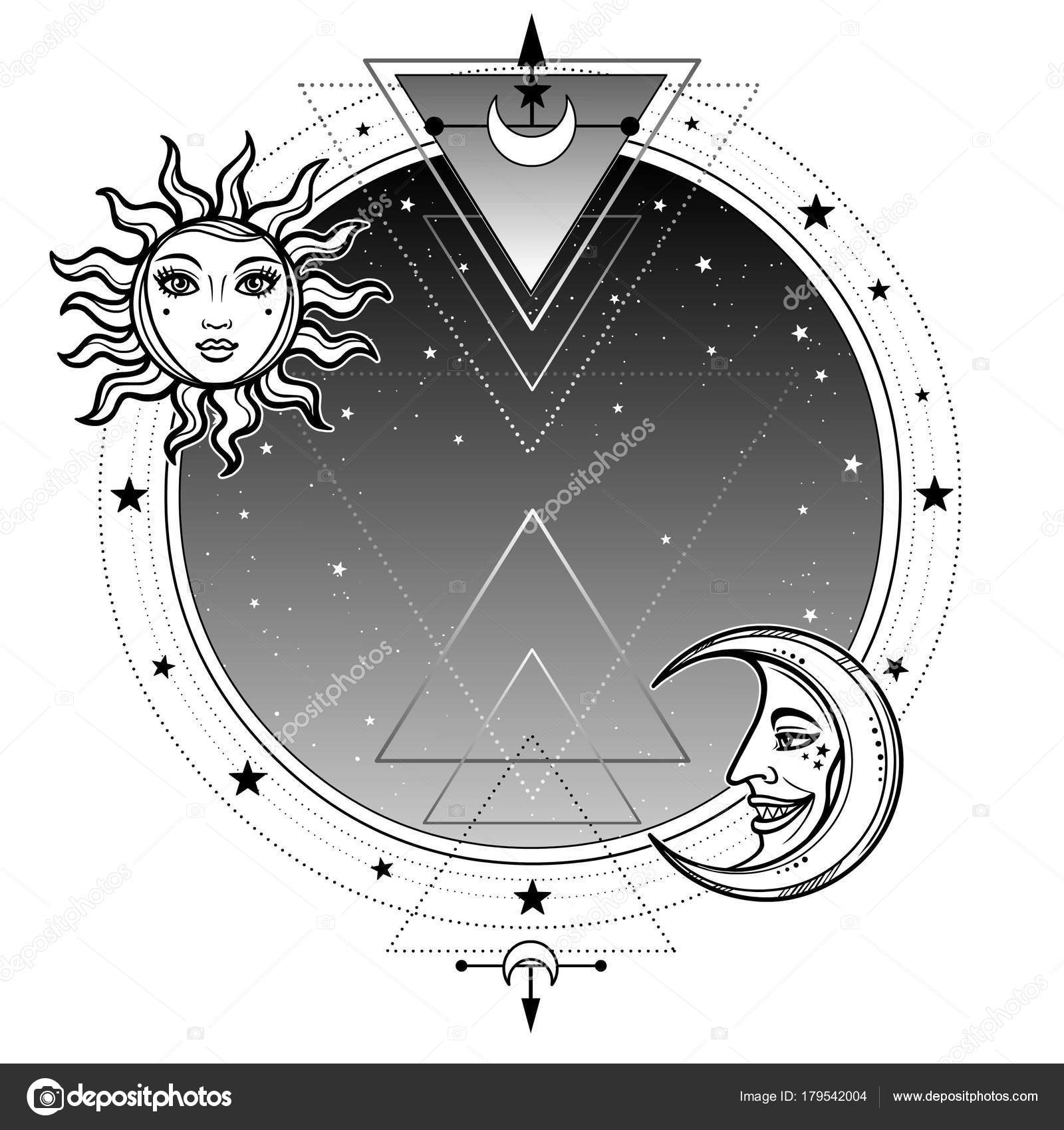 Monochrome background night star sky moon sun place text alchemy monochrome background night star sky moon sun place text alchemy stock vector biocorpaavc Images