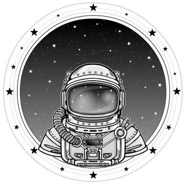 Animation Astronaut in a space suit.  A background - the night star sky. Vector illustration isolated on a white background. Print, poster, t-shirt, card.