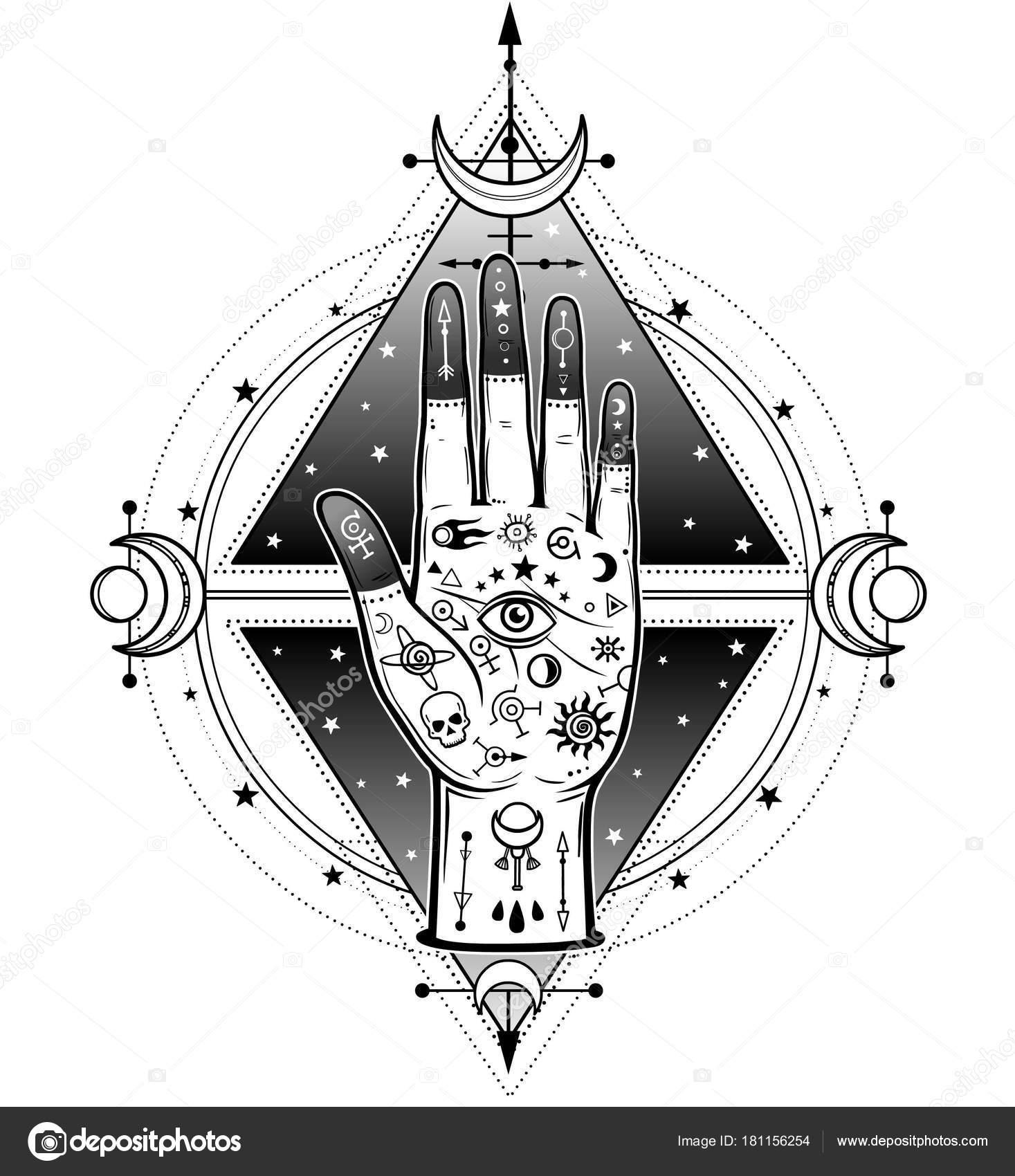 Menselijke Hand Beschilderd Met Magische Symbolen Achtergrond