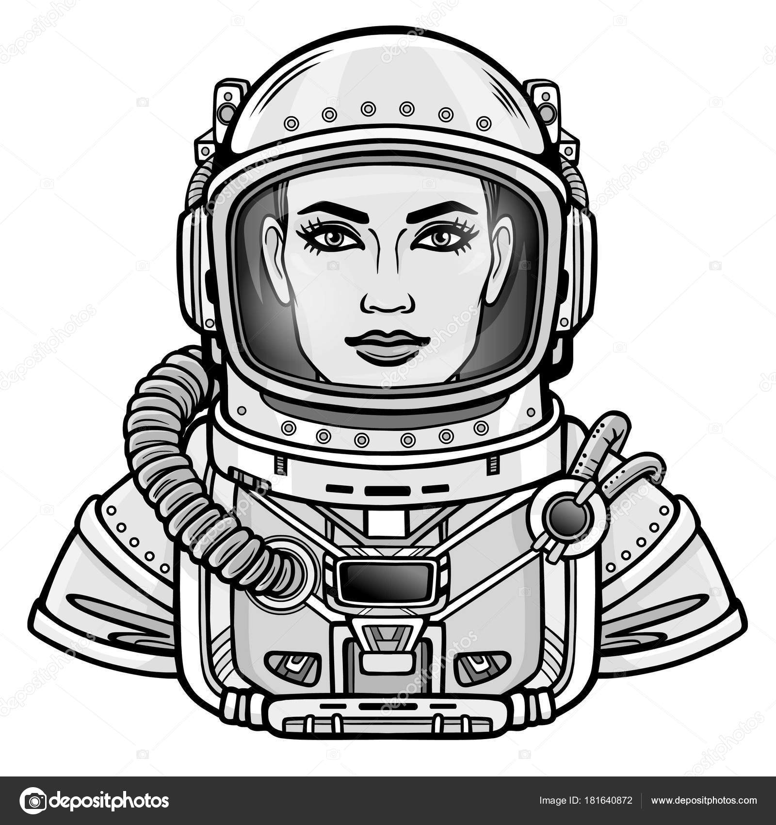 Animation Portrait Young Attractive Woman Astronaut Space