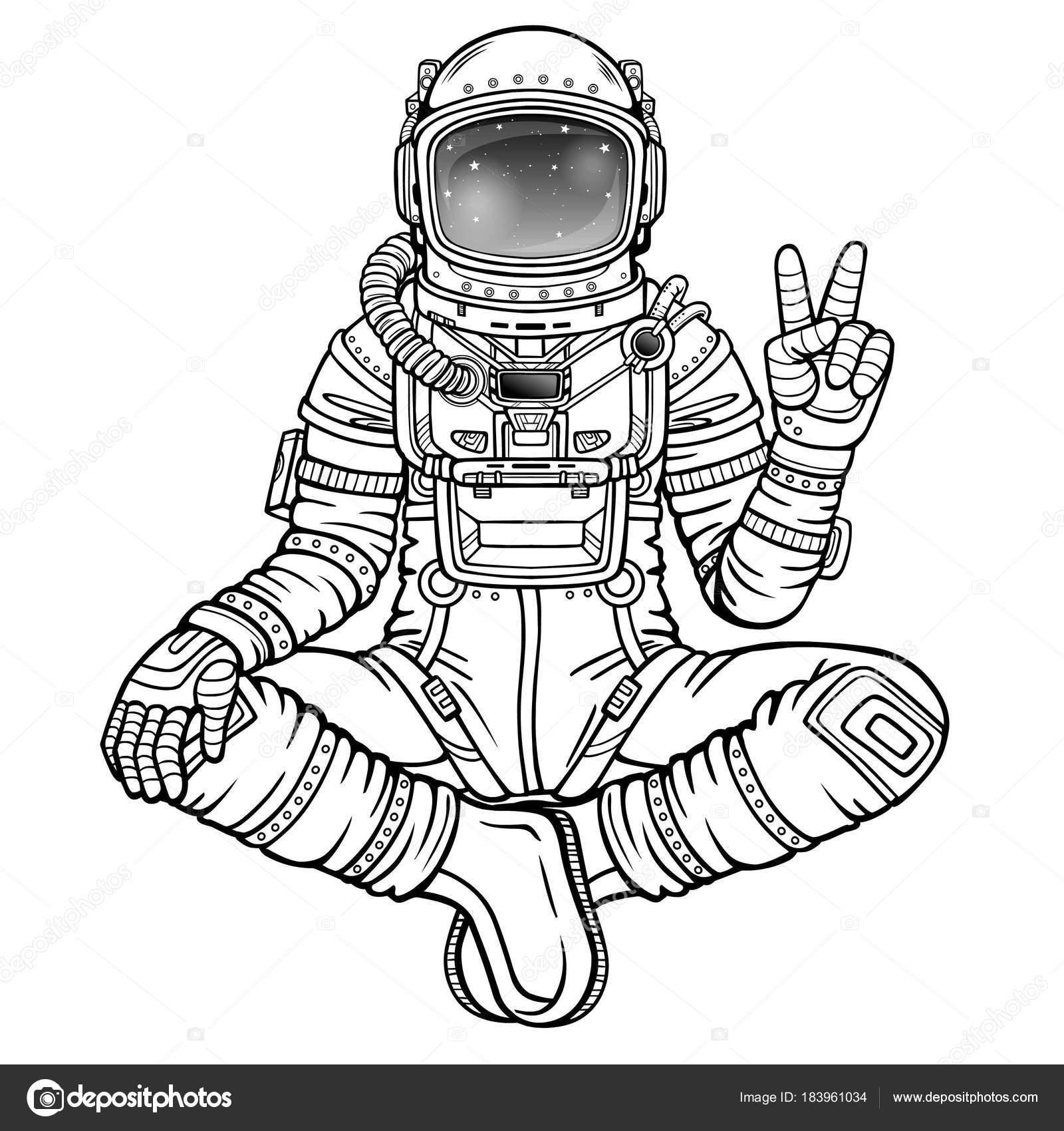 Figura Animación Del Astronauta Sentado Una Postura Buda Meditación ...
