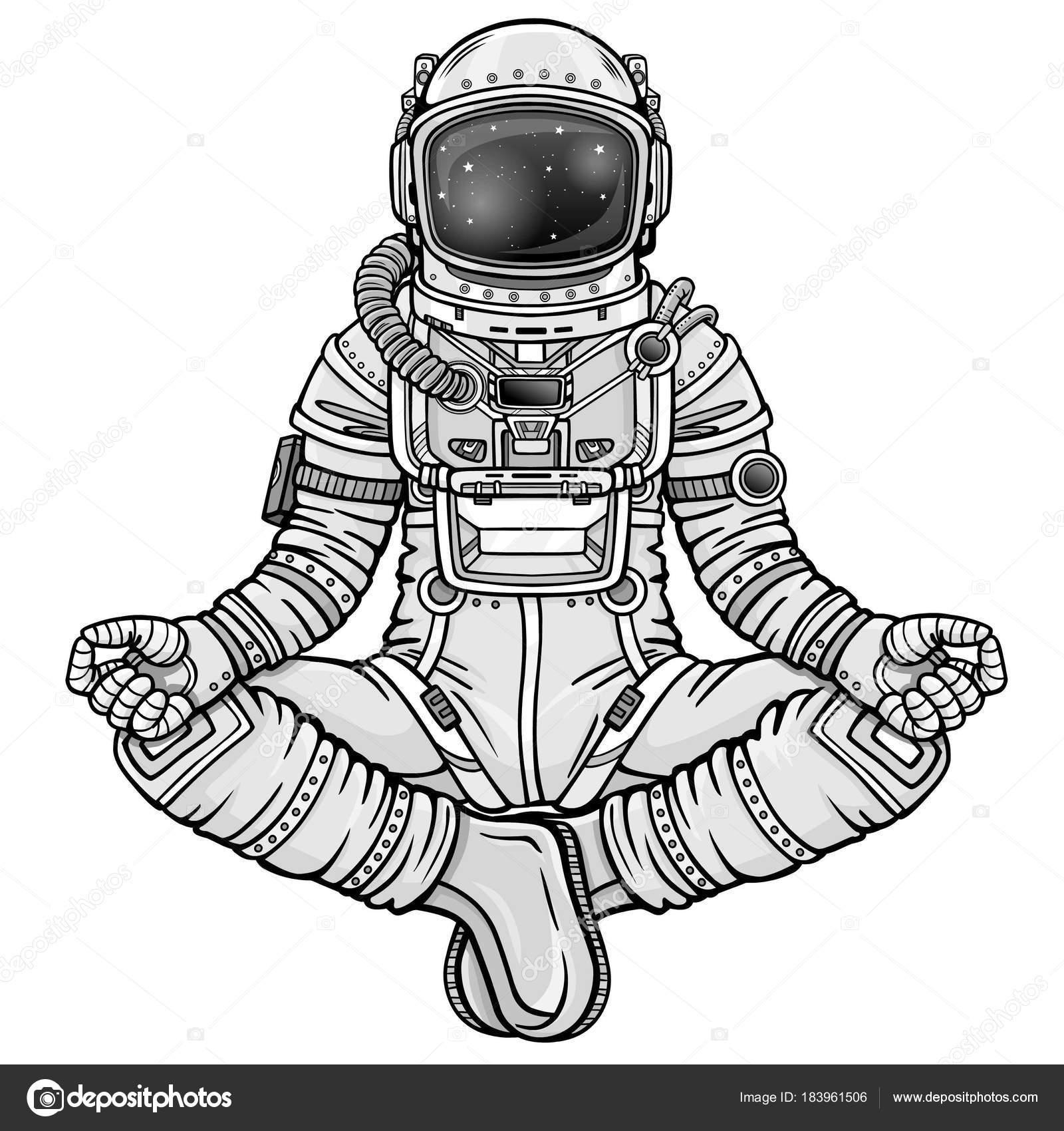 Animation Figure Astronaut Sitting Buddha Pose Meditation