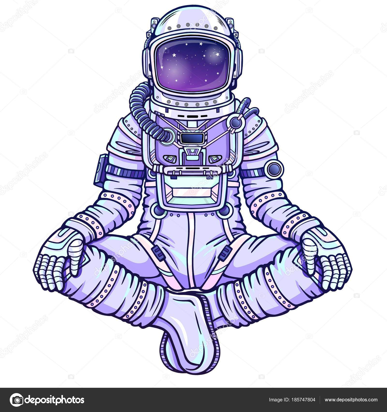 Figure Animation Astronaute Assis Posture Bouddha Méditation