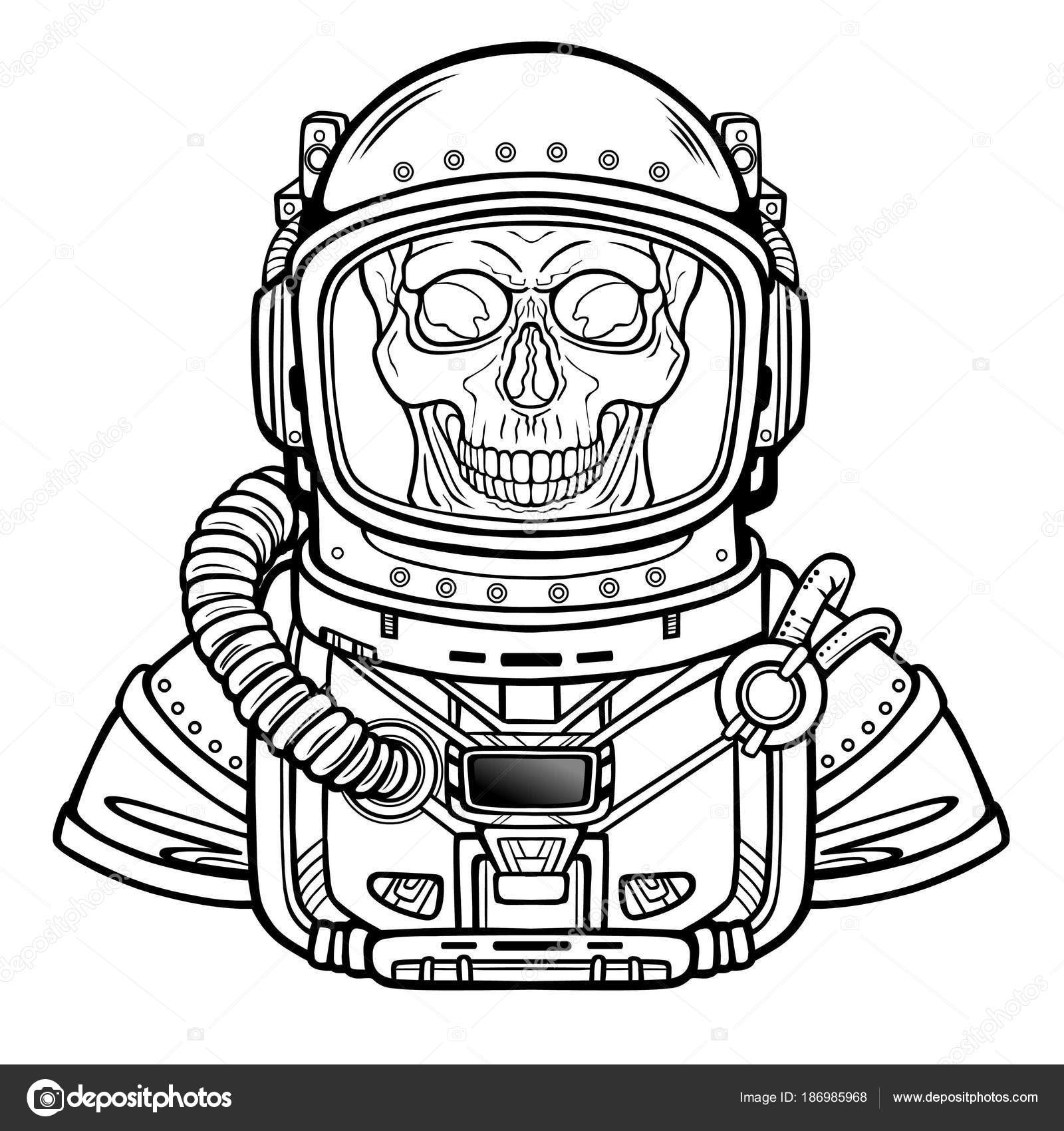 animation astronaut skeleton space suit monochrome drawing