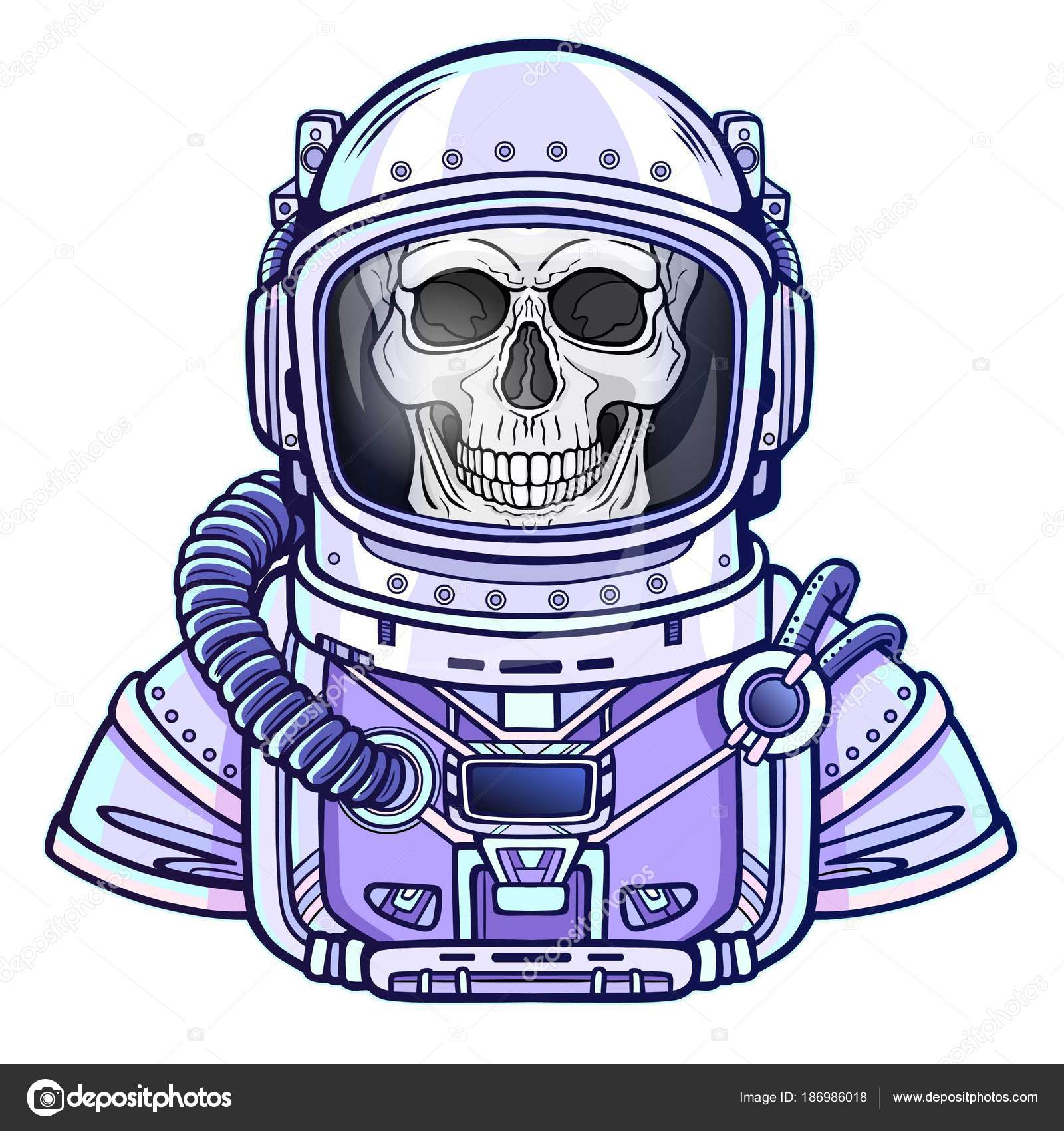 Esqueleto Astronauta Animación Traje Espacial Dibujo Del Color ...