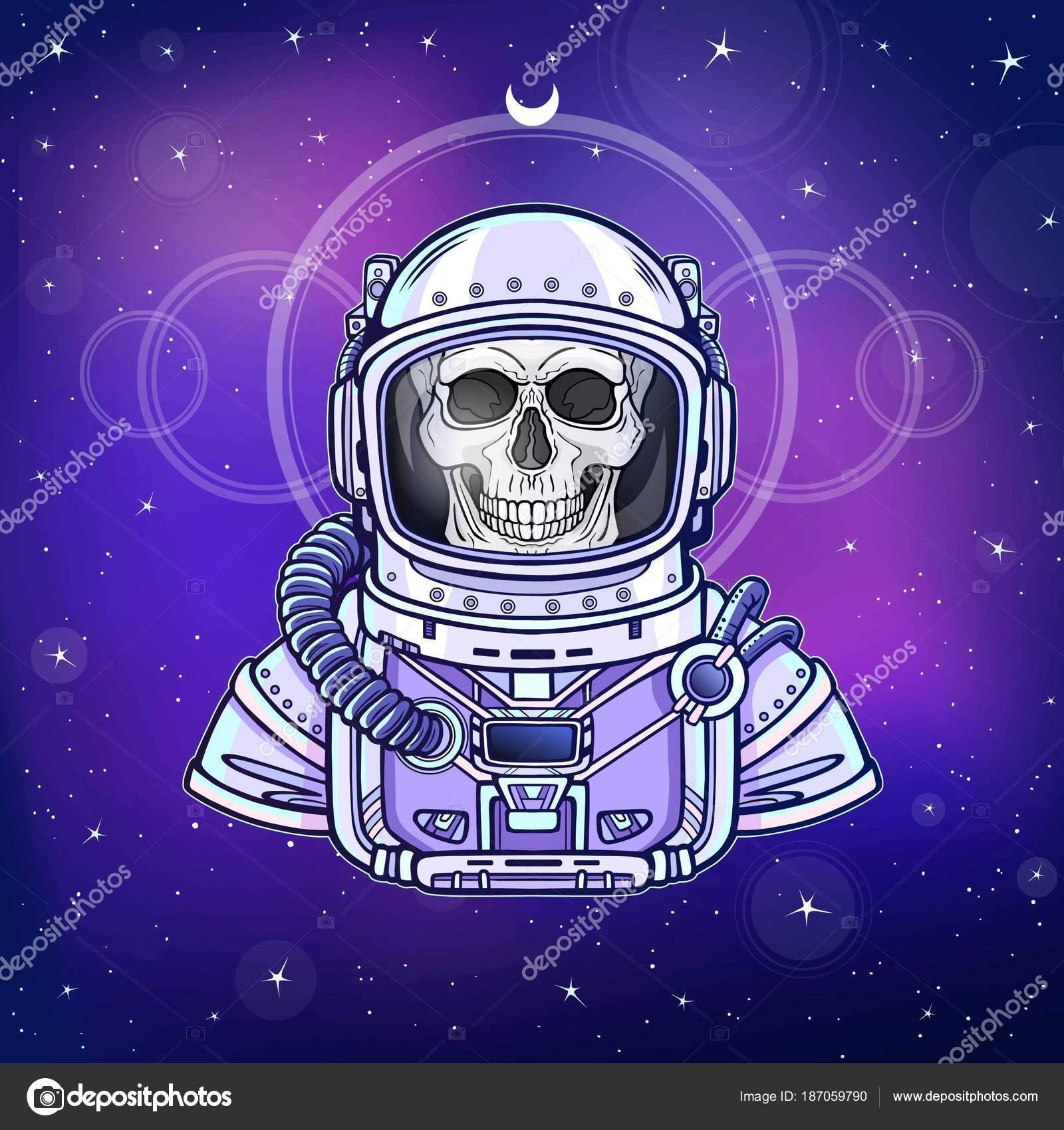 Esqueleto Astronauta Animación Traje Espacial Dibujo Del Color Fondo ...