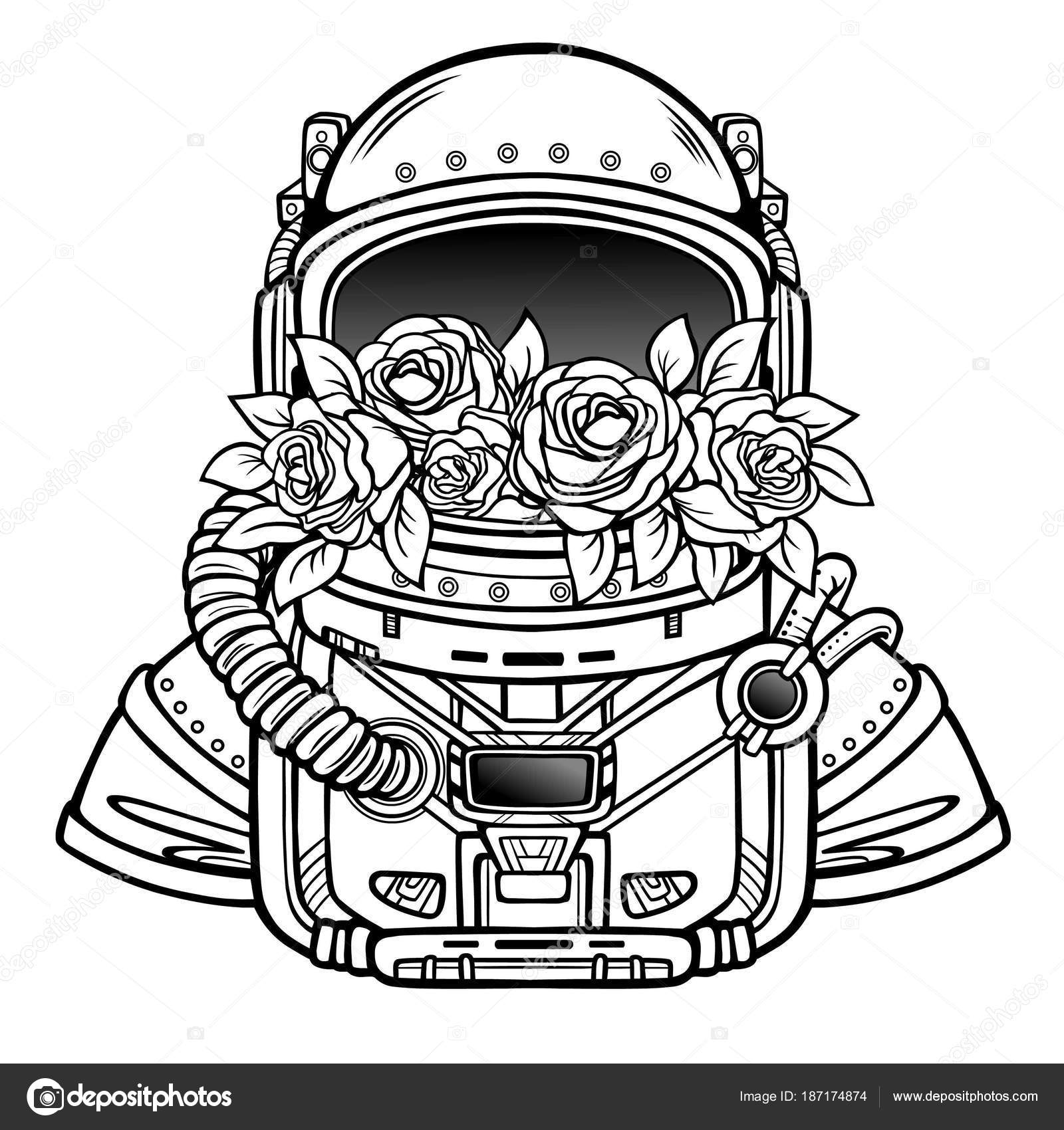 space helmet astronaut filled flowers roses linear monochrome