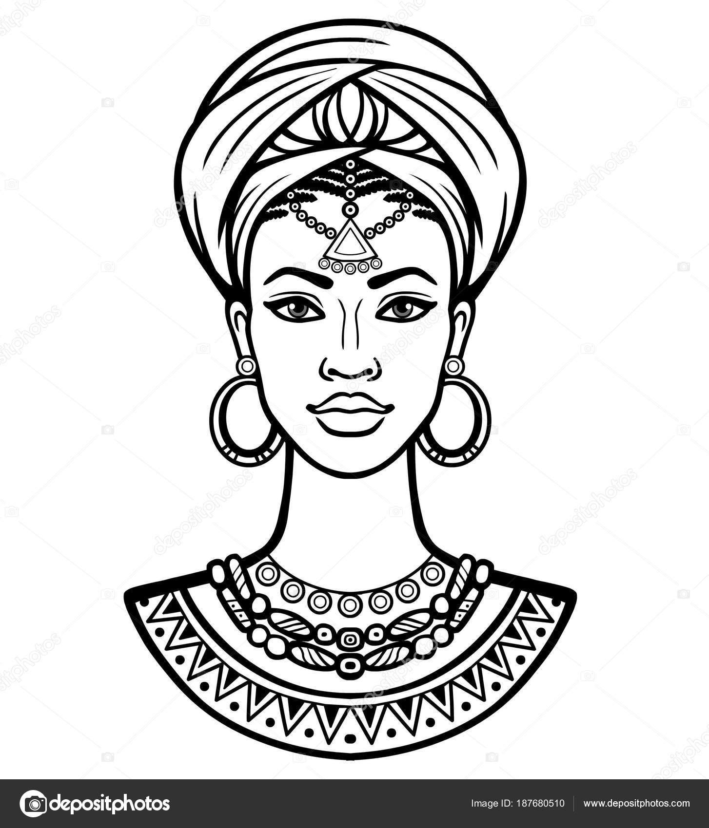 Dessin De Femme Africaine portrait animation jeune femme africaine dans turban dessin linéaire