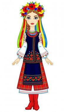 Animation portrait of the young Ukrainian girl in traditional clothes, a wreath and tapes. Full growth. Vector illustration isolated on a white background.