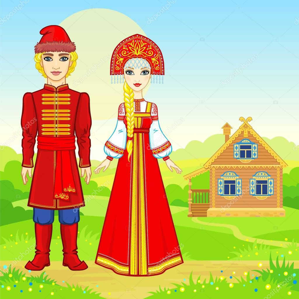 Animation portrait of beautiful Russian family  in traditional clothes.  Fairy tale character. Full growth. A background - a rural landscape, the ancient house. Vector illustration.