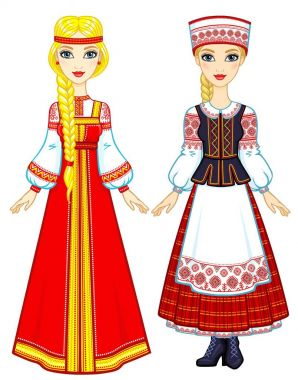 Slavic beauty. Animation portrait of the Russian and Belarusian girls in national suits. Eastern Europe. Full growth. Vector illustration isolated on a white background.