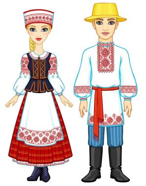 Slavic beauty. Animation portrait of the Belarusian family in national  clothes. Full growth. Eastern Europe. Vector illustration isolated on a white background.