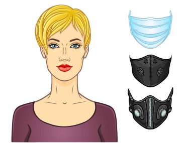 Cartoon portrait of a young white woman, a set of medical masks of different design. Protection against coronavirus epidemic. Template for use. Vector illustration isolated on white background. stock vector