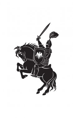 knight with sword mounted on horse