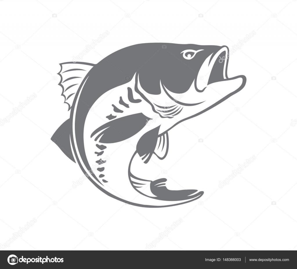 Bass Fish For Logo Or Print Fishing Sport Vector By Kvasay