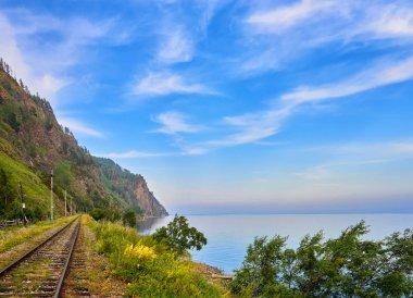 Railroad near Lake Baikal and beautiful sky