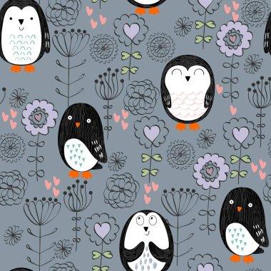 Vector seamless pattern with cute cartoon penguins clip art vector