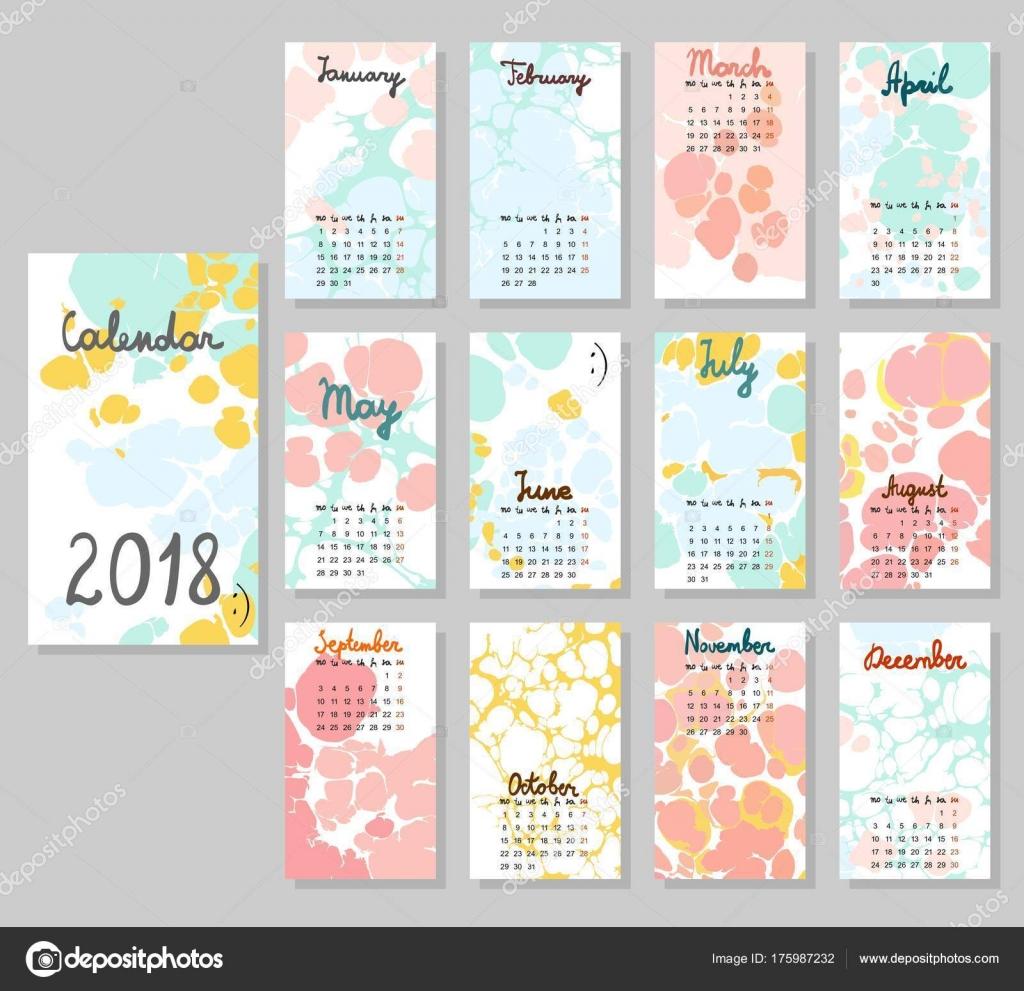 Cute Calendar 2018 Stock Vector C Pilipa 175987232