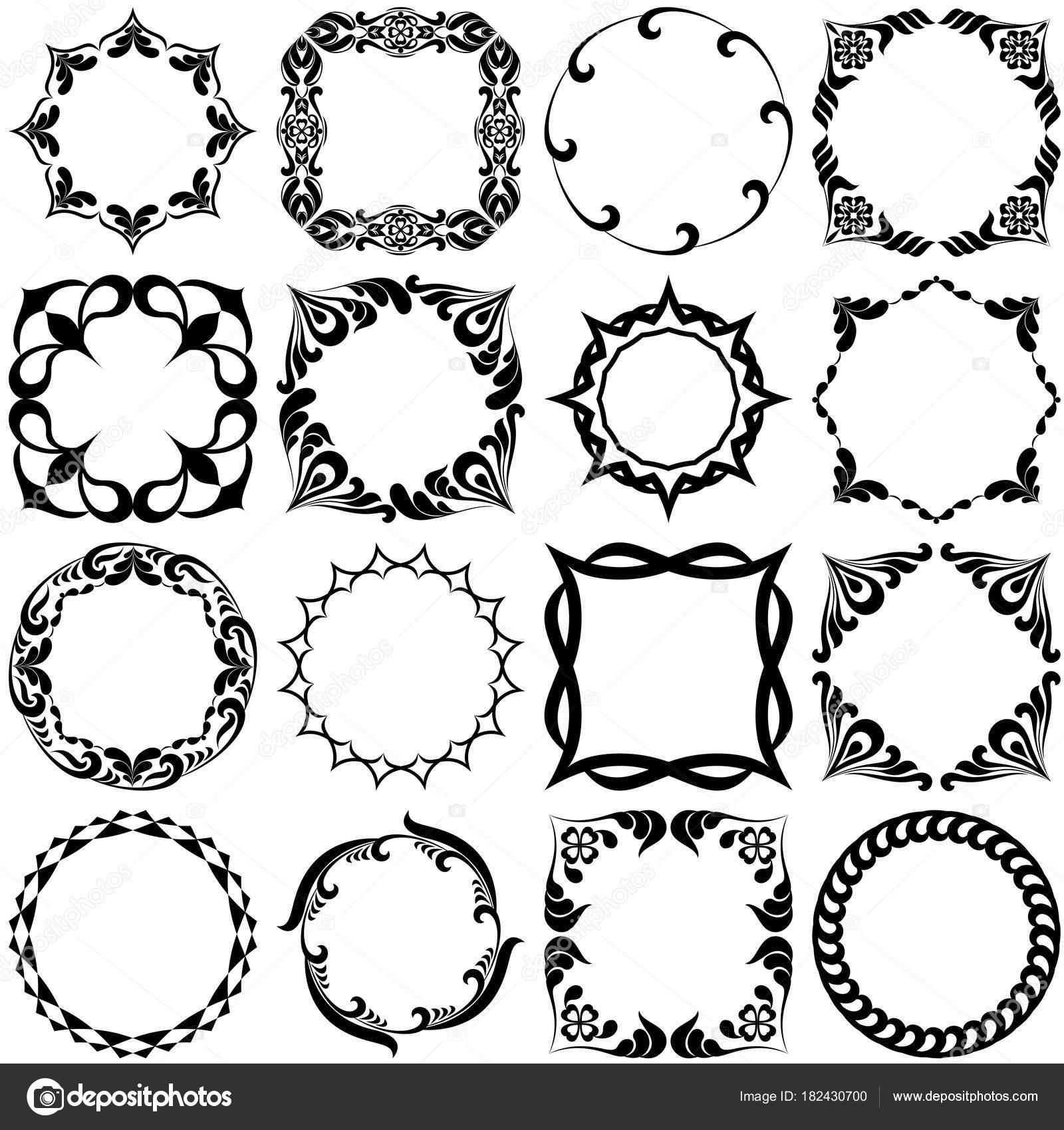 Set Pattern Graphic Frames Black White — Stock Vector © Mudryuk ...