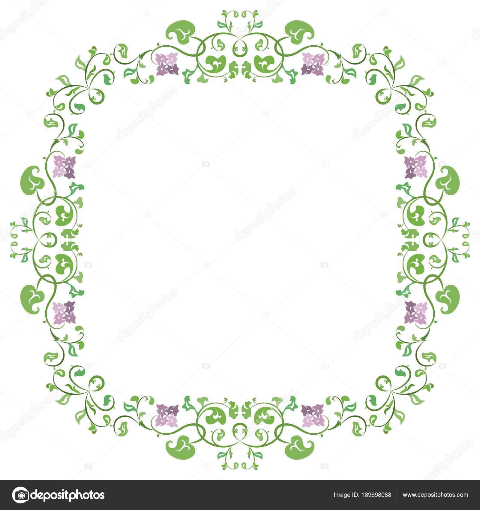 Primavera Verano Flor Delicado Marco Con Hojas Color Verde Flores ...