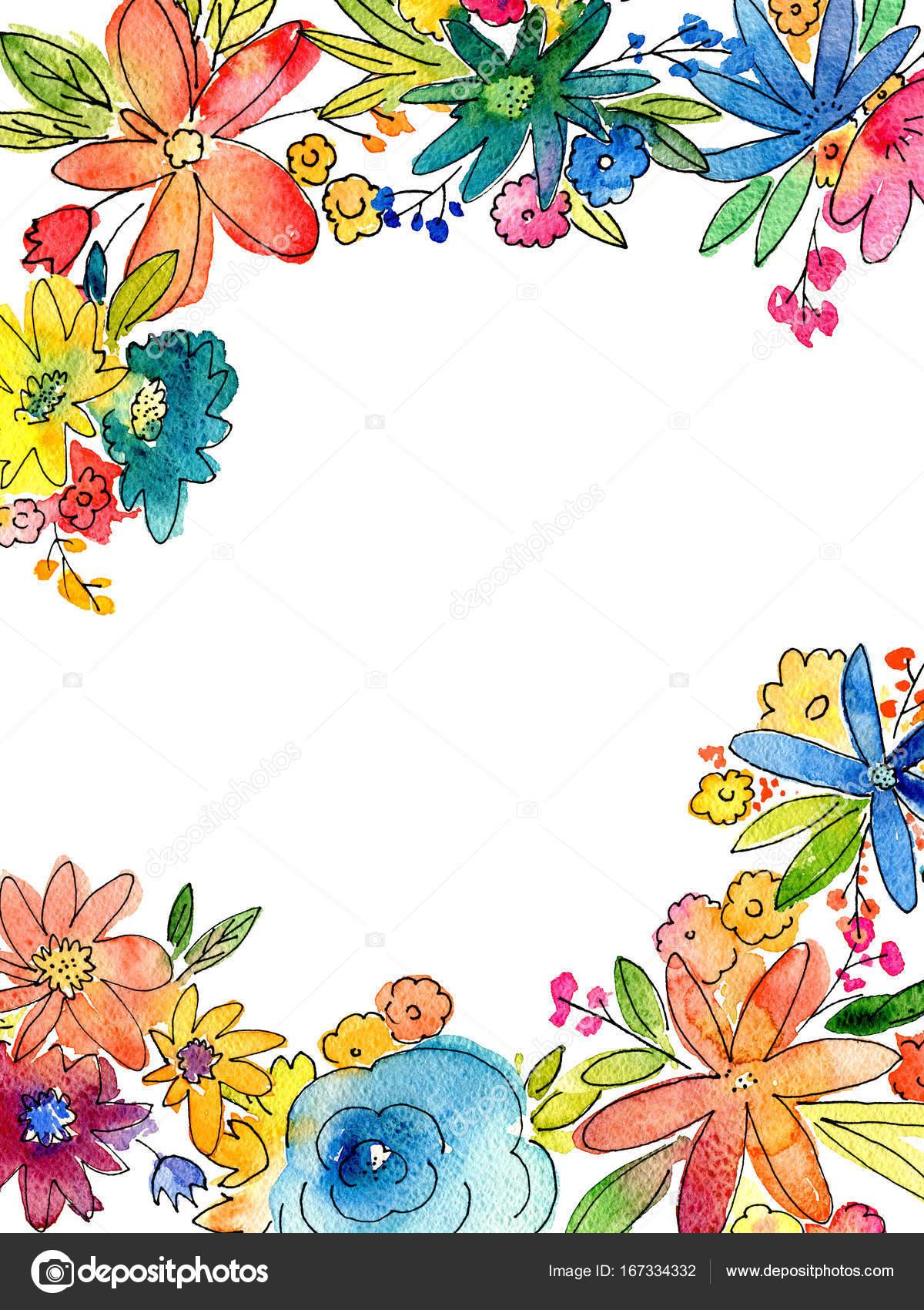 空白のコピー スペースと水彩花フレーム イラスト — ストック写真