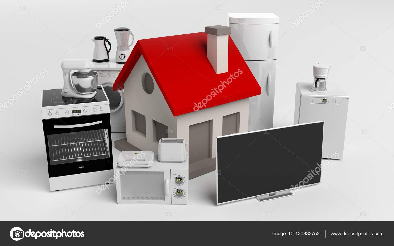 Elettrodomestici di rendering 3d e una piccola casa foto for Schizzo di piccola casa
