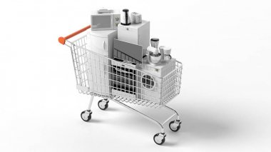 3d rendering home appliances in a trolley