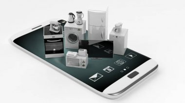 3d rendering home appliances on a smart phone