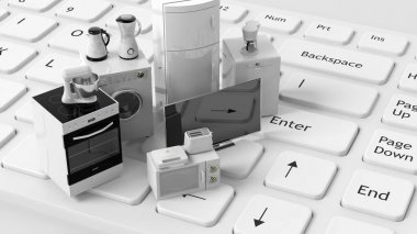 3d rendering home appliances on a keyboard