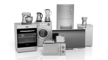 3d rendering set of household appliances on white background