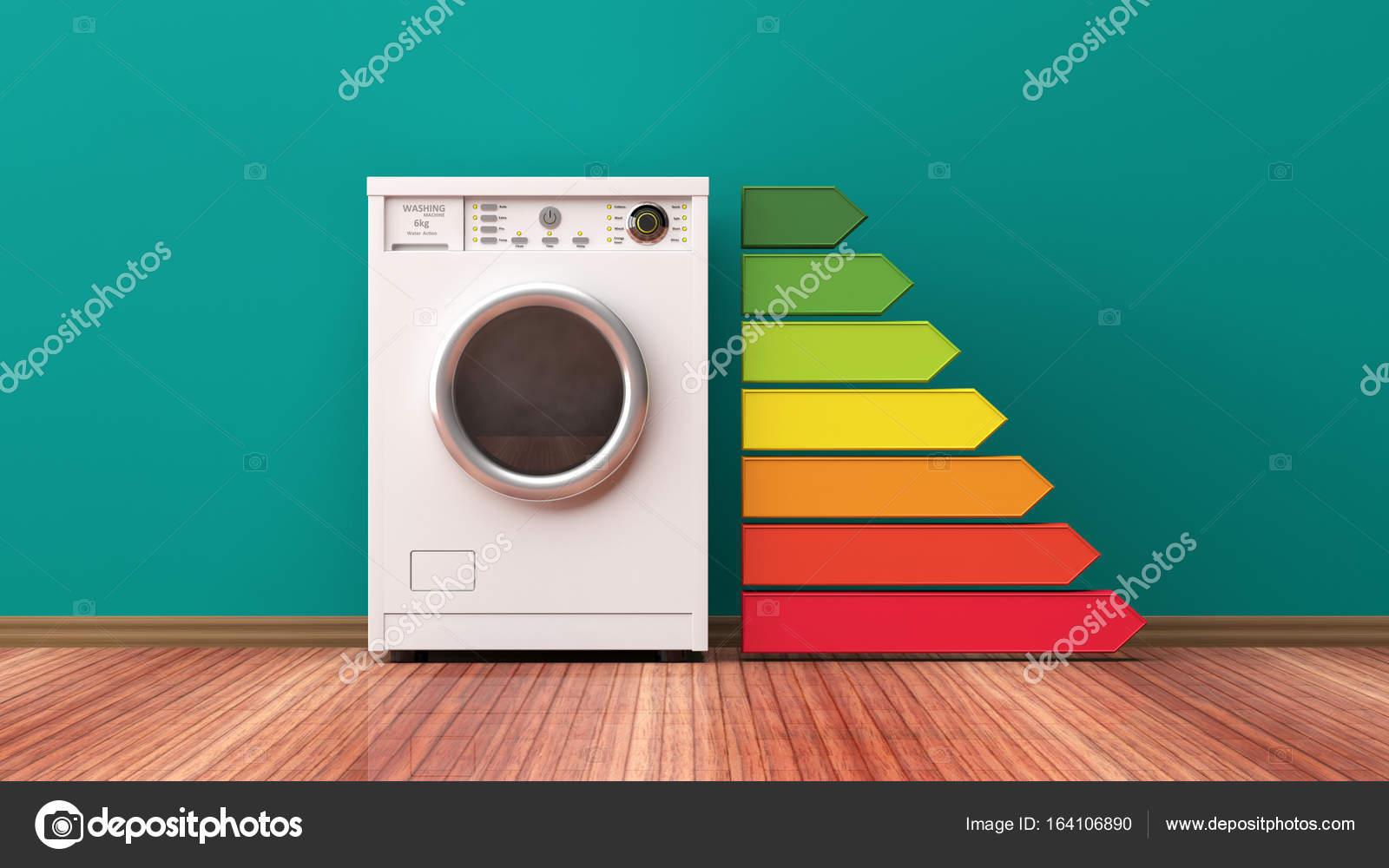 Waschmaschine Maschine Und Energieeffizienzklasse 3d Illustration