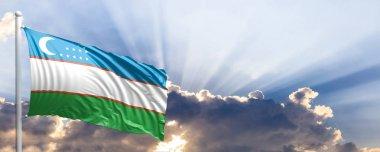 Uzbekistan flag on blue sky. 3d illustration