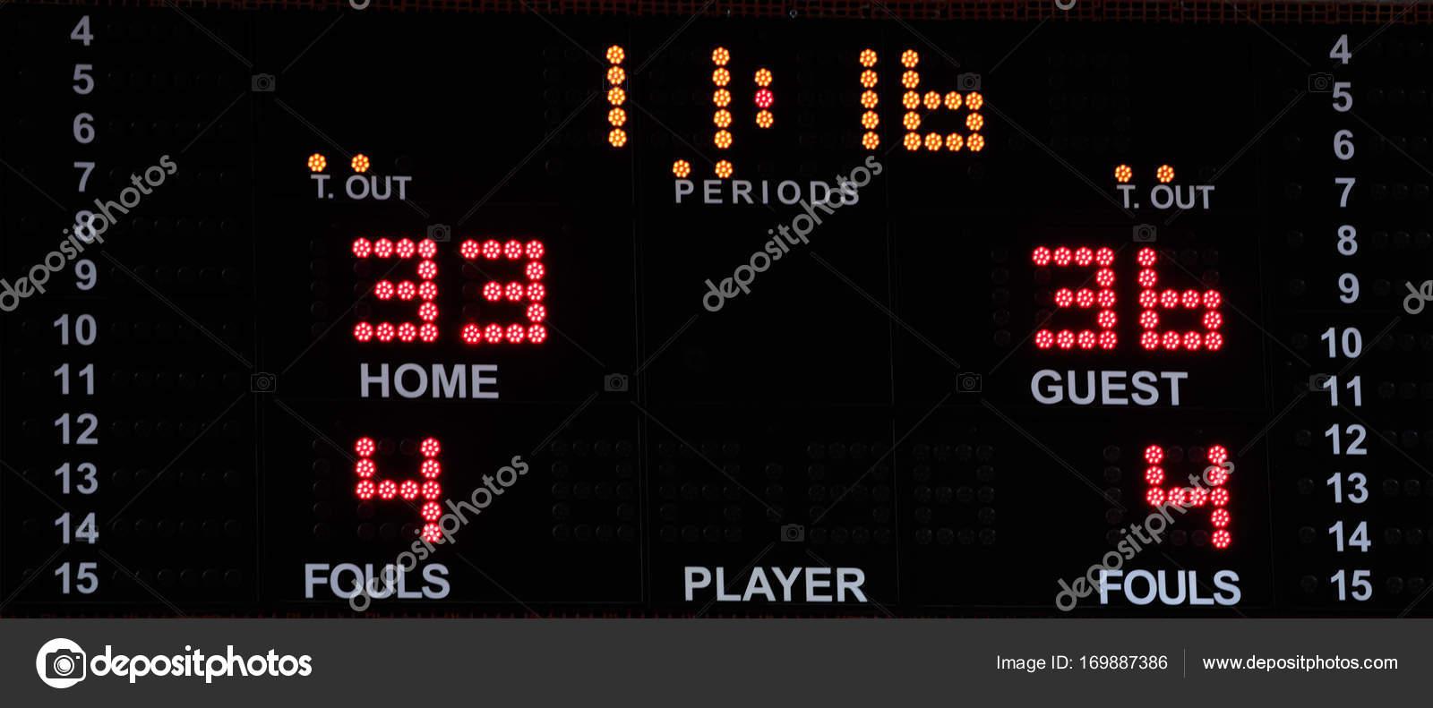 Basketball-elektronische Anzeigetafel mit hellen Zahlen — Stockfoto ...