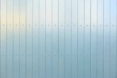 Wooden light blue backdrop. Vertical empty boards with details. Closeup view, space for text, banner