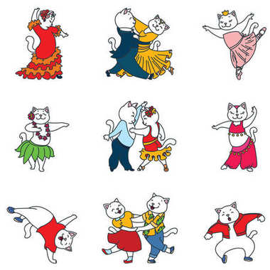 Set of dancing cats