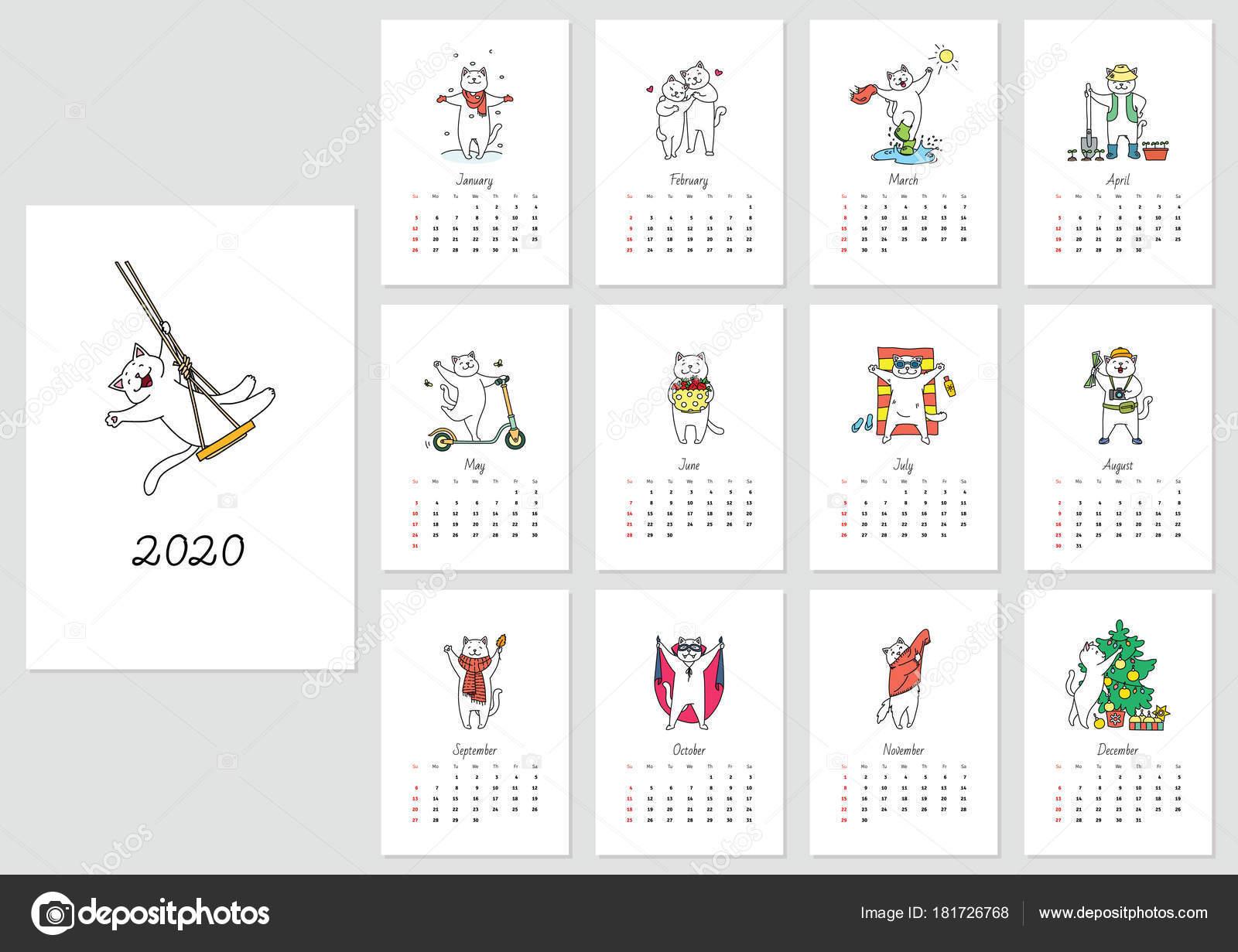 Cute Calendar 2020 Calendar Cute White Cats 2020 Year Vector Template — Stock Vector