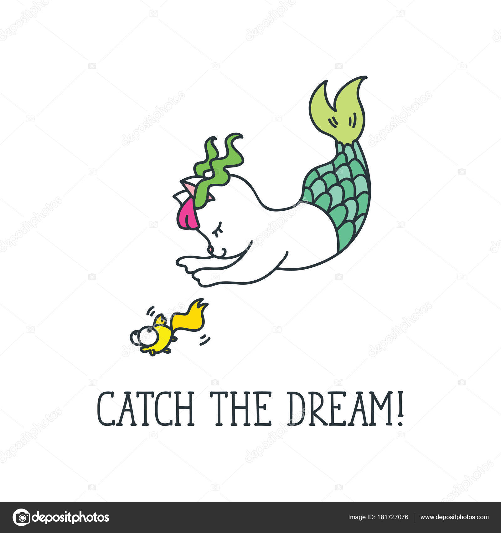 Catch Dream Inspirational Quote Cute Cat Mermaid Catches Fish Doodle U2014  Stock Vector