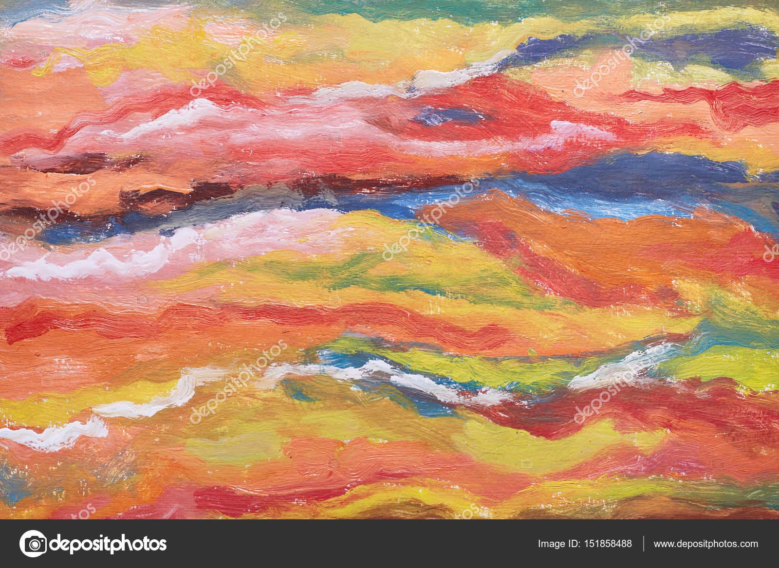 Abstrakte Kunst Hintergrund. Orange, gelb, rot, blaue Textur ...