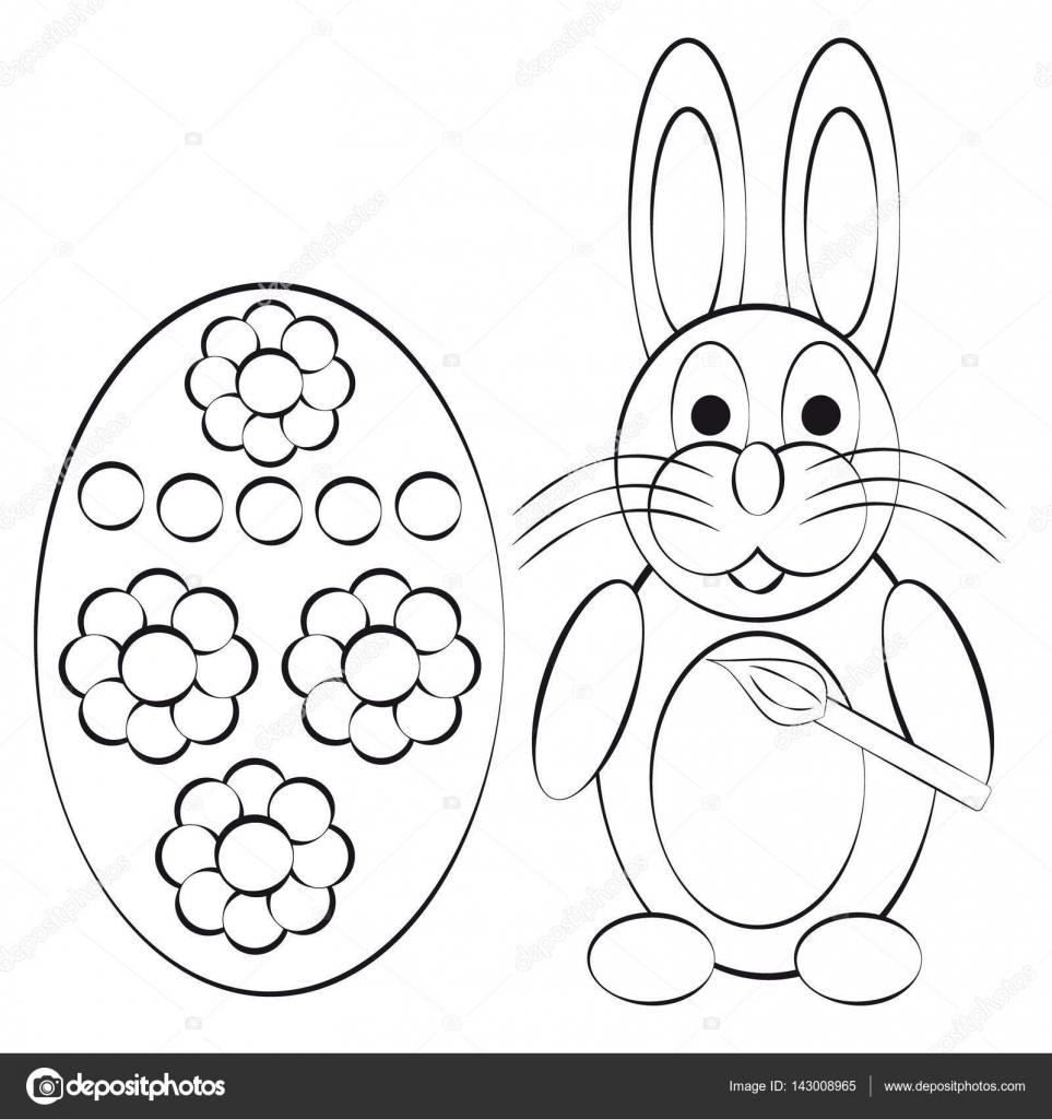 Conejo de libro para colorear con huevo sobre fondo blanco — Vector ...