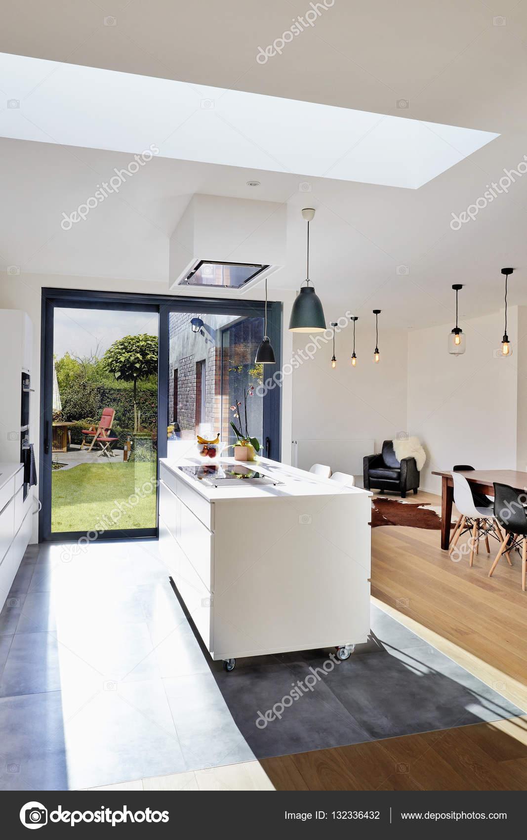 Cucina aperta moderna da loft con vista su un lussureggiante ...