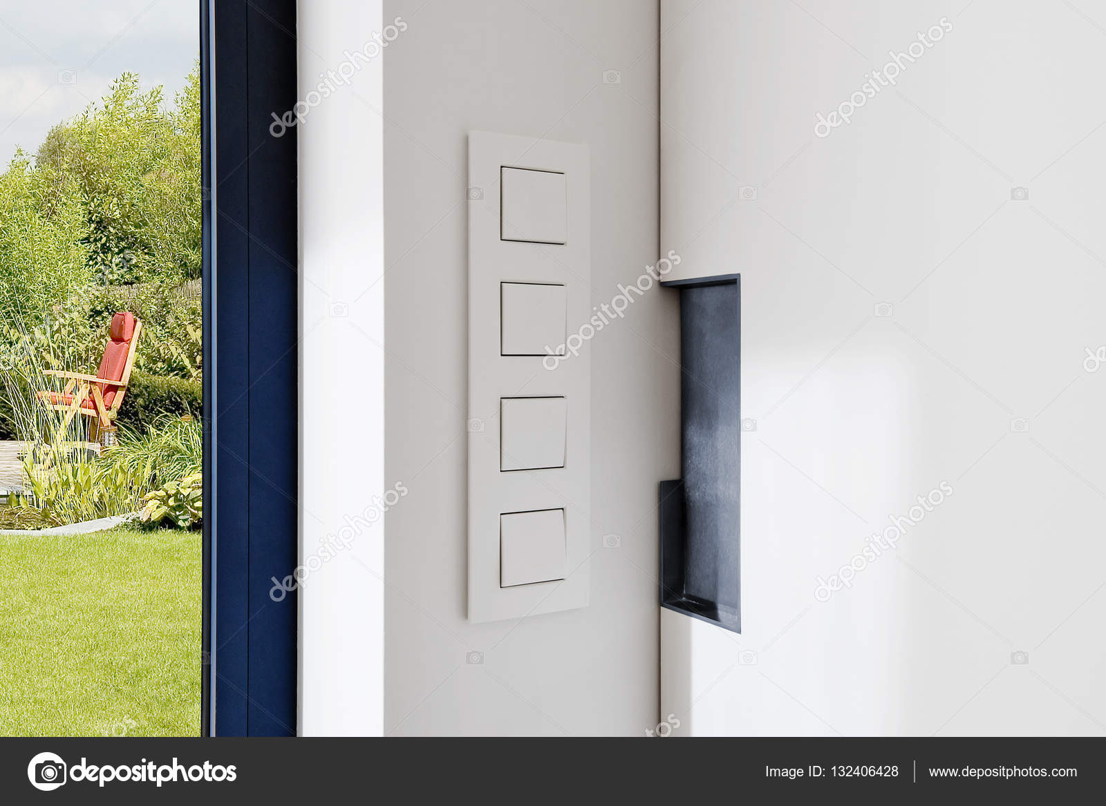 Light Switch near a sliding door in a modern apartment — Stock Photo ...