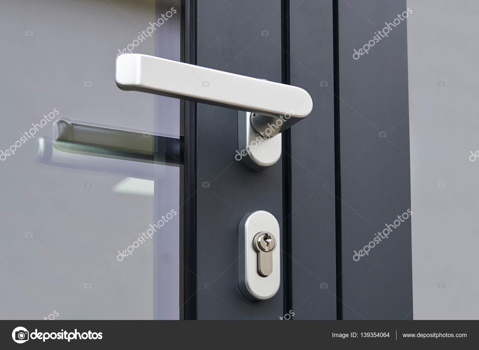 Exterior Door Handle And Security Lock Stock Photo Bombaert