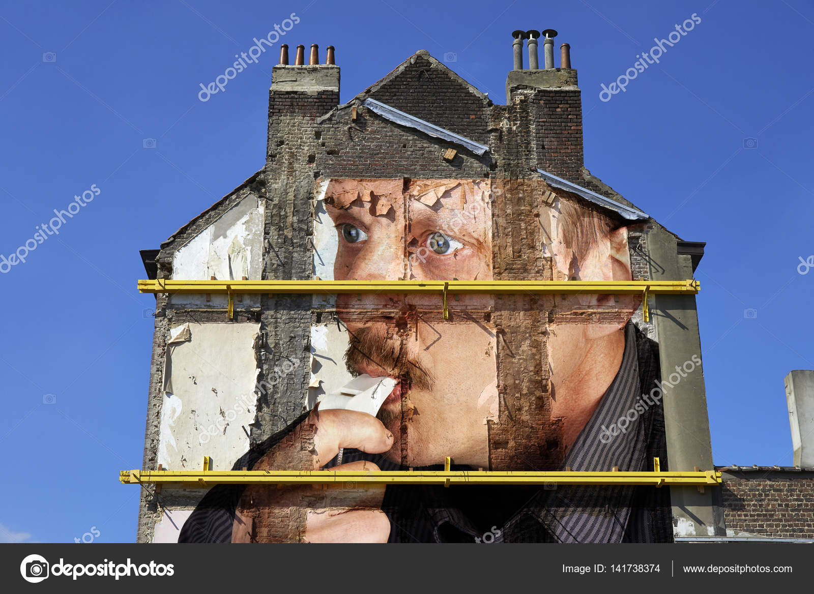 paint on walls from housing demolition site u2014 stock photo
